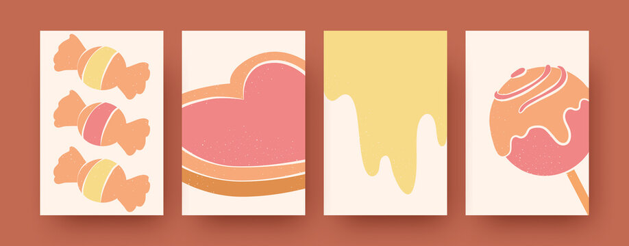 Set of abstract dessert shapes in pastel colors. Tasty candies, cookie and lollypop silhouettes in retro background. Sweet food and confectionery concept for social media, postcards, invitation cards