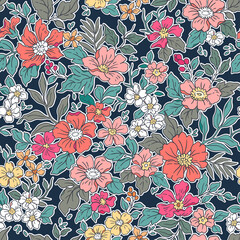 Beautiful vintage floral pattern in small realistic flowers. Small red and coral flowers. Blue background. Liberty style print. Floral seamless background. The elegant the template for fashion prints.