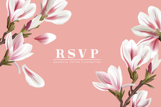 Floral Magnolia flowers RSVP card placement template. Contemporary layout vector illustration.