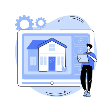 Real estate video tour abstract concept vector illustration.