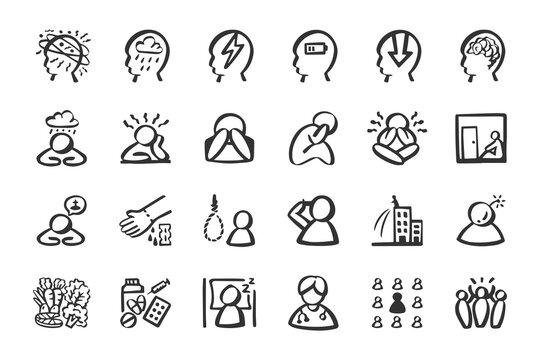 Depression anxiety icon set Hand drawn doodle icons