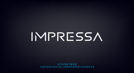 Fototapeta Abstract modern minimal alphabet fonts.Typography urban style for fun, sport, technology, fashion, digital, future game, logo new design 2021 elegant creative.