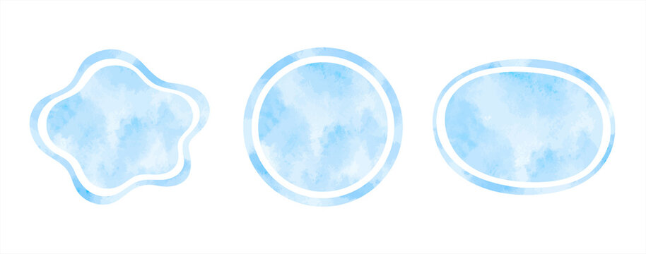 Light blue watercolor vector liquid shapes, frames set. Ring, circle, oval, round water template. Watercolour stains texture. Hand drawn painted graphic design elements, aquatic text backgrounds