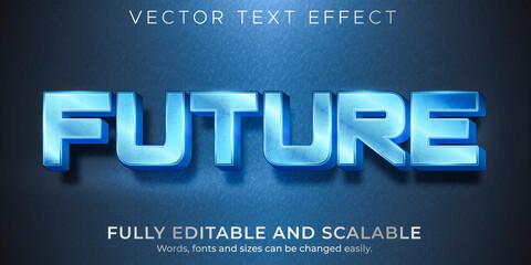 Fototapeta Metallic future text effect, editable shiny and elegant text style