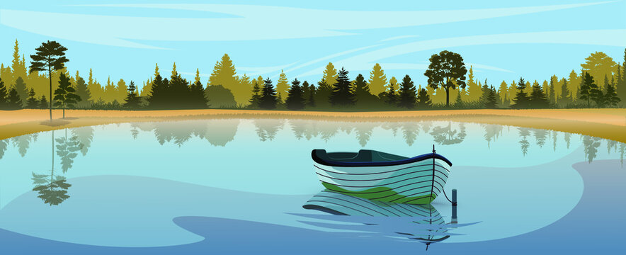 Lake boat in sunrise fog.  Sunrise lake boat view. Lake boat forest scene. Reflection of forest and boats in water. Beauty world.