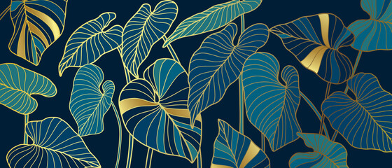 Luxury background with palm leaves and golden texture. Line art botanical vector illustration. Natural design. Wall mural