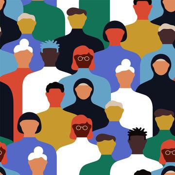 Diverse people crowd cartoon seamless pattern