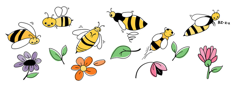 Set of cartoon wasps. Wasps and flowers isolated on white background. Children's vector illustration.