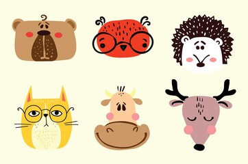 Collection of hipster cartoon character animals bear, owl, cat, cow and deer with accessories