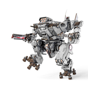 xtreme war machine is walking for war in white background