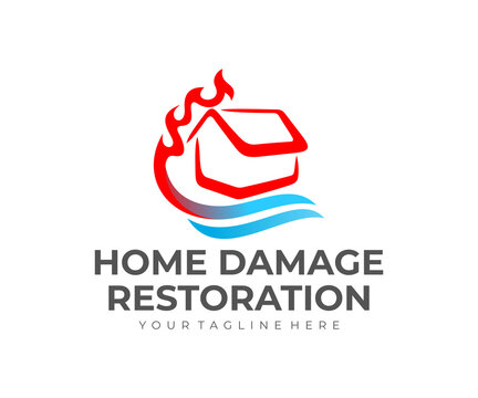 Home damage restoration, water damage and fire, logo design. Construction, repair, repairing and maintenance, vector design and illustration