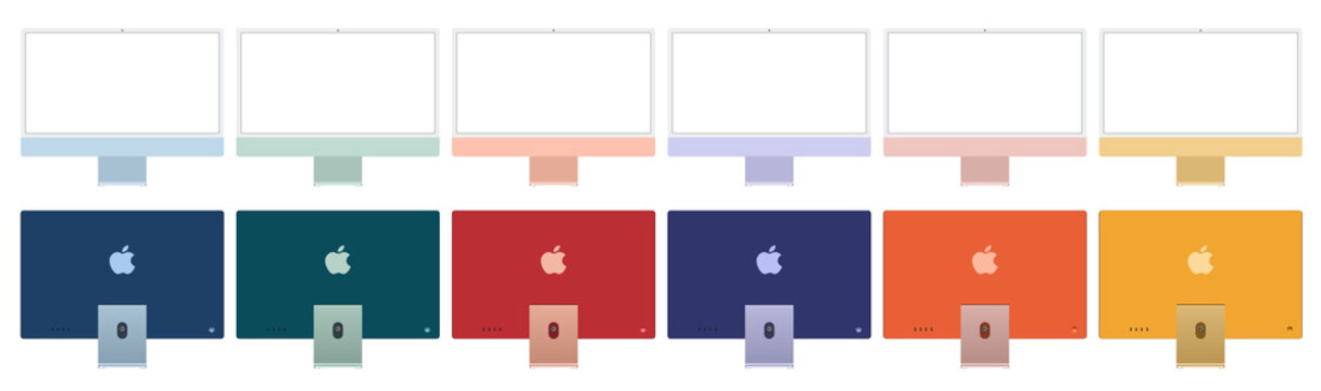 Antalya, Turkey - April 20, 2021: Front and rear views of the 2021 new model multicolored Apple iMac.