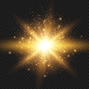 Starburst with sparkles and rays. Golden light flare effect with stars and glitter isolated on transparent background. Vector illustration of shiny glow star with stardust and big ray, gold lens flare