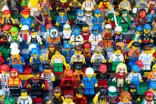 BARCELONA, SPAIN - JUNE 08, 2019: Lego People Mini Characters Closeup In Store