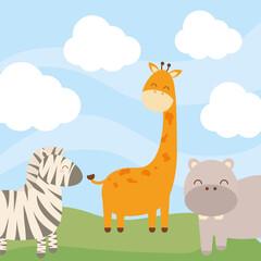 Fototapeta three baby animals