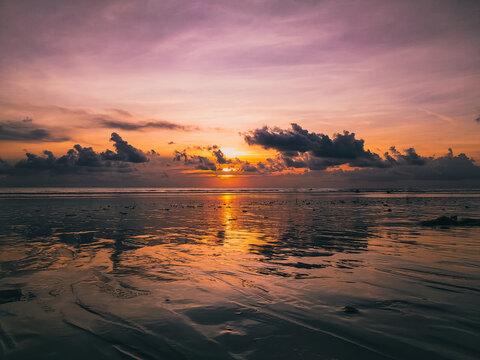 Sunset on Kuta beach, Bali