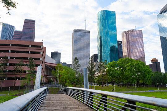 downtown city green building bridge