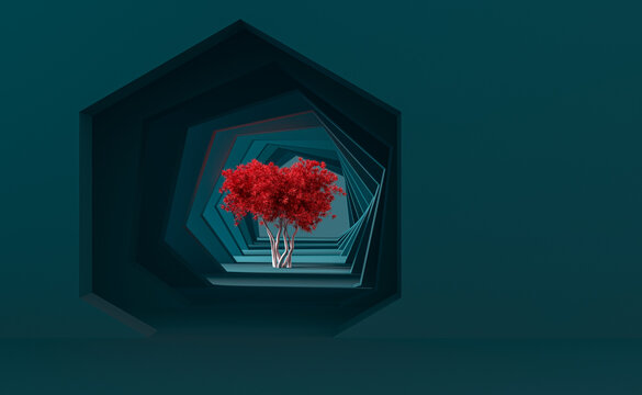 Minimal saturated abstract background and mock up for the presentation and exhibitions of products. Hexagonal arches in the blue walls in perspective and a lighted tree in the center. 3d illustration