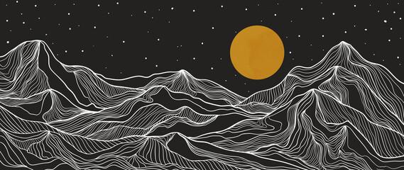 landschapsbehangontwerp met gouden berglijnkunsten, luxe achtergrondontwerp voor omslag, uitnodigingsachtergrond, verpakkingsontwerp, stof en print. Vector illustratie.