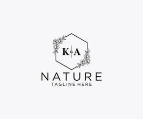 Obraz initial KA letters Botanical feminine logo template floral, editable premade monoline logo suitable, Luxury feminine wedding branding, corporate. - fototapety do salonu