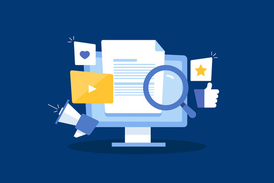 Content creation and content marketing. Video content on social media channel, seo content for search engine optimization, online content promotion concept.