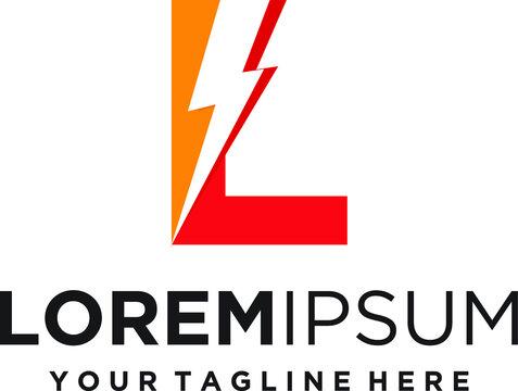 Letter L lightning electric logo