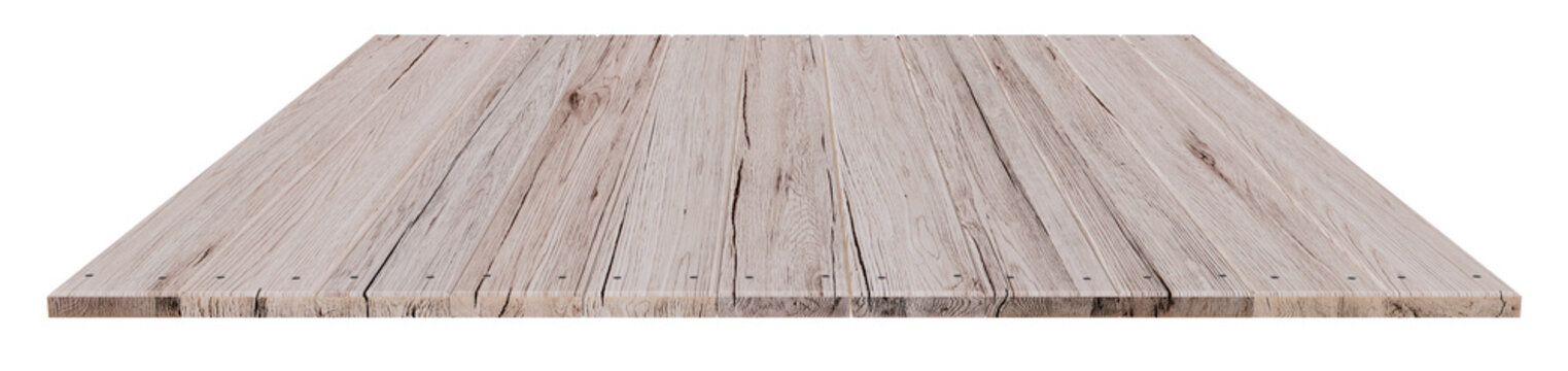 white oak wood table top on white background, display or montage your product, 3D rendering object and clipping path included.