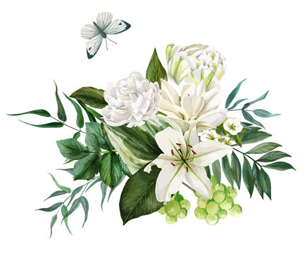 Lush bouquet composed of white flowers and greenery
