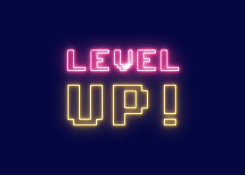 The neon squared words Level up, glowing on a screen. 8-bit retro style, vaporwave vibes.