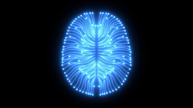 Glowing blue brain diagram as digital computer circuitry concept