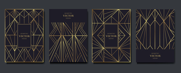 Fototapeta Gold and Luxury Invitation card design vector. Abstract geometry frame and Art deco pattern background. Use for wedding invitation, cover, VIP card, print, poster and wallpaper. Vector illustration.