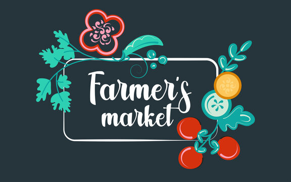 Farmers market banner with decorative elements vegetables and food. Flat vector illustration for invitation, flyer or announcement.