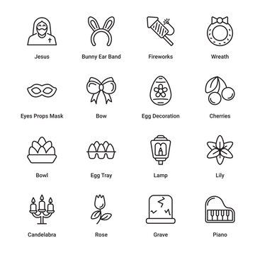 Easter Outline Icons - Stroked, Vectors