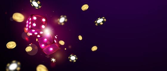 Fototapeta dice casino chips flying realistic tokens for gambling, cash for roulette or poker,
