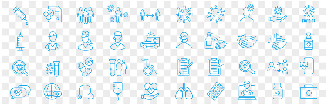 Set of Coronavirus and Vaccine line icons, covid19, Medical mask, health, contagious, epidemic, outbreak, Vector