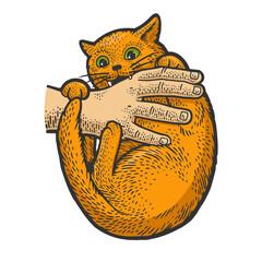 cat bites hand sketch raster illustration