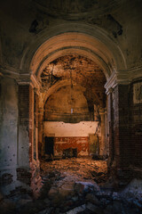 Fototapeta Large hall at old ancient abandoned ruined historical building