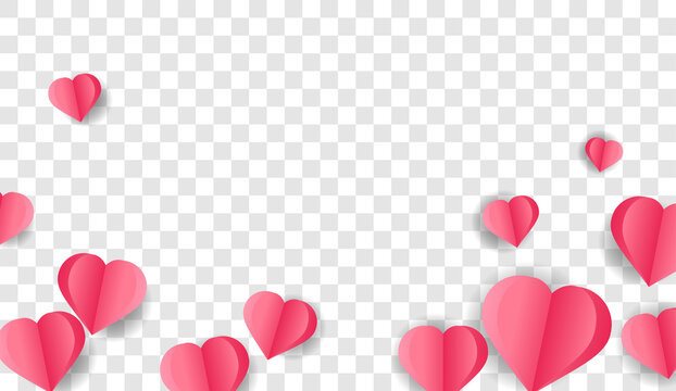 Paper elements in the shape of a heart flying on a png background. Vector symbols of love for Happy Women, Mother, Valentine's Day, greeting card design.