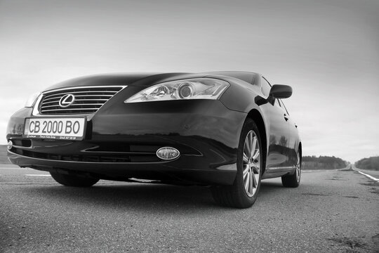 Chernihiv, Ukraine - November 5, 2018: The front of a Lexus car. Black and white photo. Car view from below
