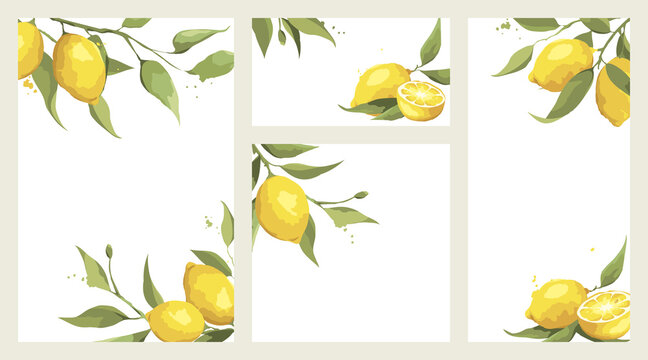 Summer card with lemon branch. Design elements with citrus fruits, vector illustration, label.