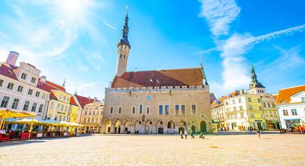 Fototapeta Tallinn Hall Square and old town panorama, Estonia