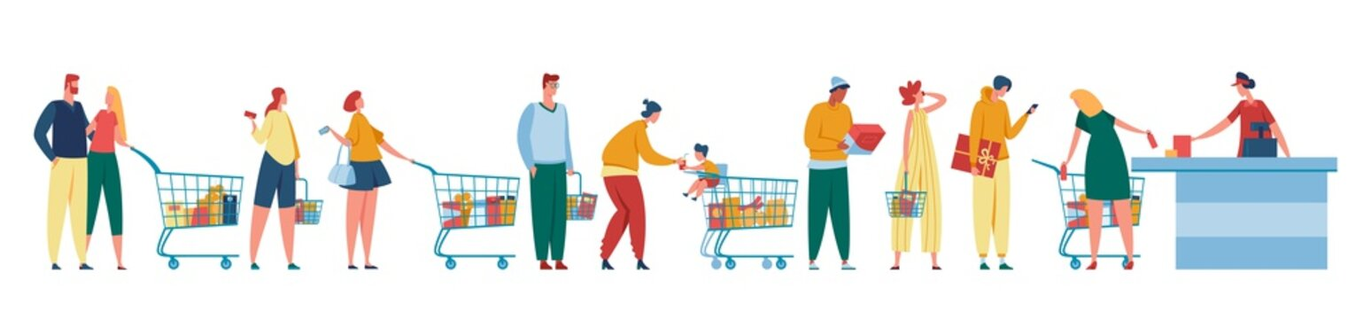 People queue. Customers waiting in line at counter with cashier. Men and women with shopping carts standing at cash desk. Grocery store checkout vector illustration. Characters with trolleys, baskets
