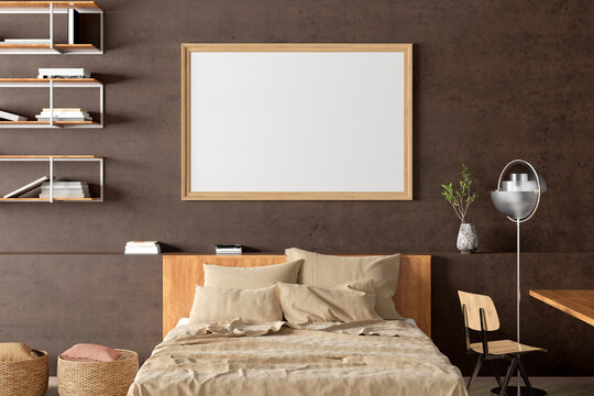 Horizontal blank poster frame mock up on the brown concrete wall in the industrial style interior of bedroom.