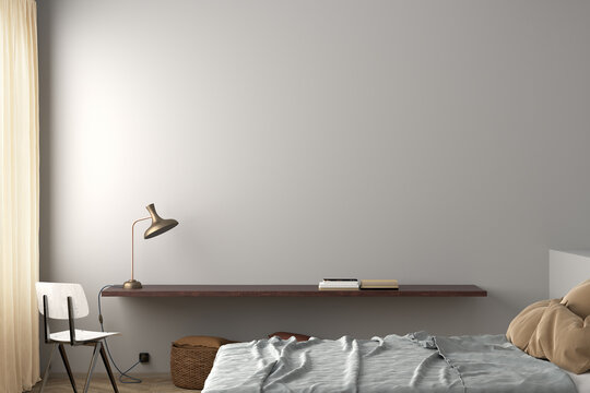 Blank white wall of modern bedroom mock up.