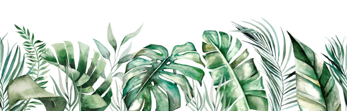 Watercolor tropical leaves seamles border