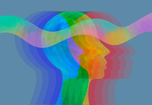 Disegno grafico uguaglianza, empatia. Meditazione, yoga. Questioni sociali. Empatia