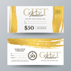 Obraz Set of vector stylish gift vouchers with golden paintbrush strokes. Template for gift card, coupon and certificate with texture of gold shiny foils. Isolated from background. - fototapety do salonu