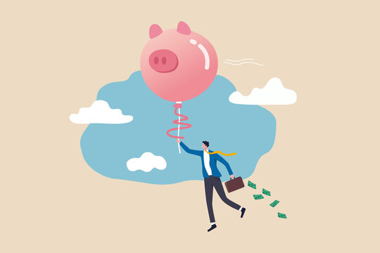 Financial freedom or financial independence concept, wealthy rich businessman floating high in the sky with piggy bank balloon.