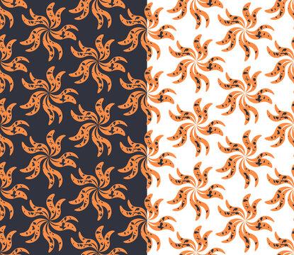 Floral geometric seamless pattern, twist simple flower shape, orange color, grunge texure. Black, white background. Vector