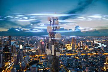 Fototapeta Telecommunication tower with 5G cellular network antenna wave on night city background